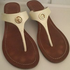 Tory Burch off white, thong wedge sandals 9.5